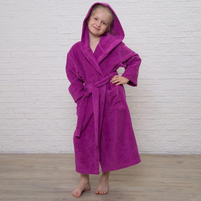 Халат махровый детский, размер 34, цвет розовый, 340 г/м2 хл.100% с AIRO - фото 1394673