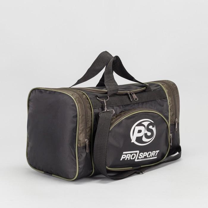 Сумка спортивная, 1 отдел на молнии, 2 наружных кармана, цвет чёрный/хаки