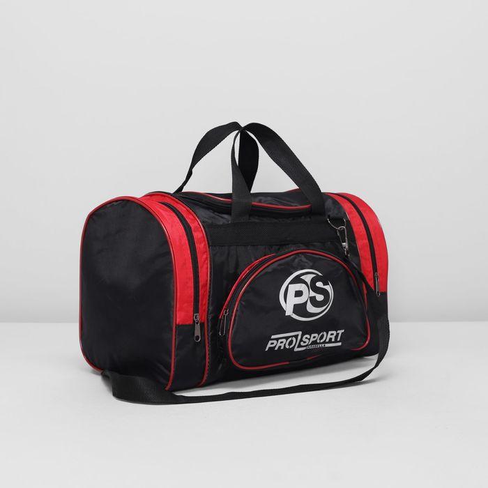 Сумка спортивная, отдел на молнии, 2 наружных кармана, цвет чёрный/красный