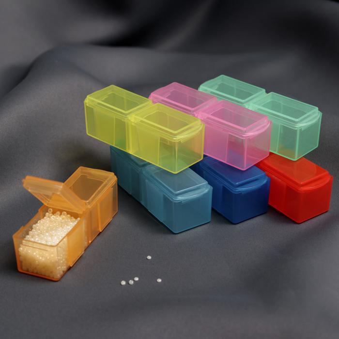 Контейнеры для рукоделия, 7 шт по 2 отделения, 17,3 × 7,5 × 2,5 см, разноцветные