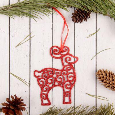 """Подвеска новогодняя """" Кружевной олень"""", красные блёстки"""