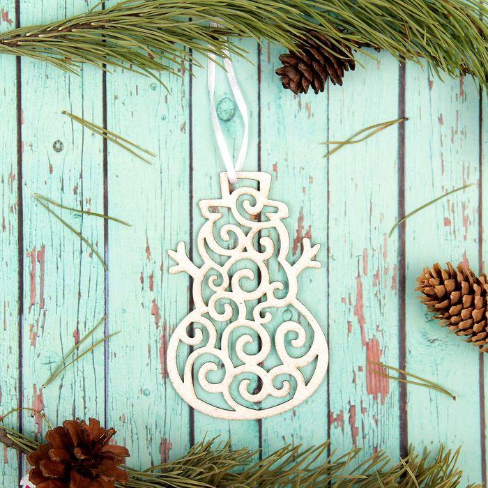 """Подвеска новогодняя """" Кружевной снеговик"""", белые блески"""