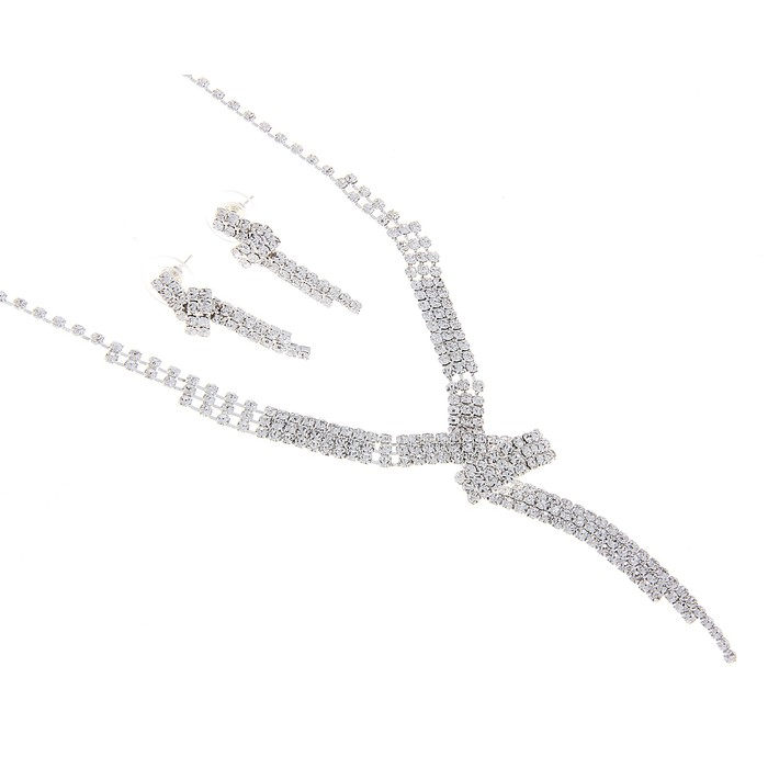 """Набор 2 предмета: колье, серьги, """"Лёд"""" зигзаг, цвет белый в серебре"""