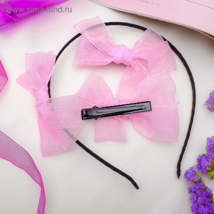 """Набор для волос """"Воздушный"""" (2 зажима,1 ободок) розовый"""