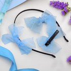 "Set of hair ""Air"" (2 clips,1 headband) blue"
