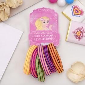 Резинки для волос 'Махрушка в полоску' (набор 6 шт.) Ош
