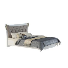 Кровать с мягкой спинкой «Аделина», белый глянец / золото