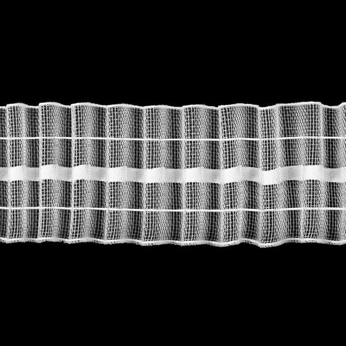 Шторная лента классическая, органза, 4 см, 50 ± 1 м, цвет белый