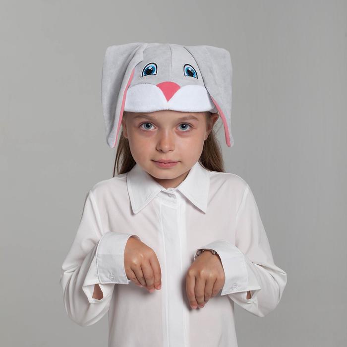 Карнавальная шапка «Заяц», хлопок, велюр, р-р 52-57