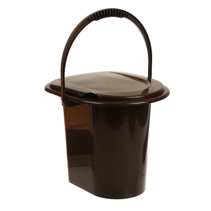 Ведро-туалет, 13 л, со съёмной ручкой, коричневое