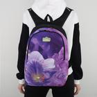 """Рюкзак """"Цветок"""", отдел на молнии, наружный карман, цвет сиреневый"""