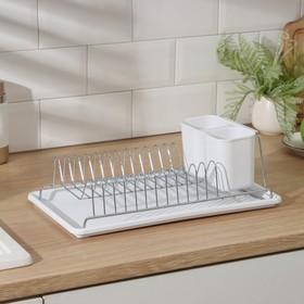 Сушилка для посуды с поддоном Доляна, 42×23×12 см, цвет МИКС