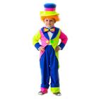 """Карнавальный костюм """"Клоун в шляпе"""", шляпа с волосами на липучке, бабочка, фрак, брюки, 5-7 лет, рост 122-134 см"""