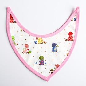 Нагрудник-бандана на непромокаемой основе для девочки, на кнопках, цвета МИКС