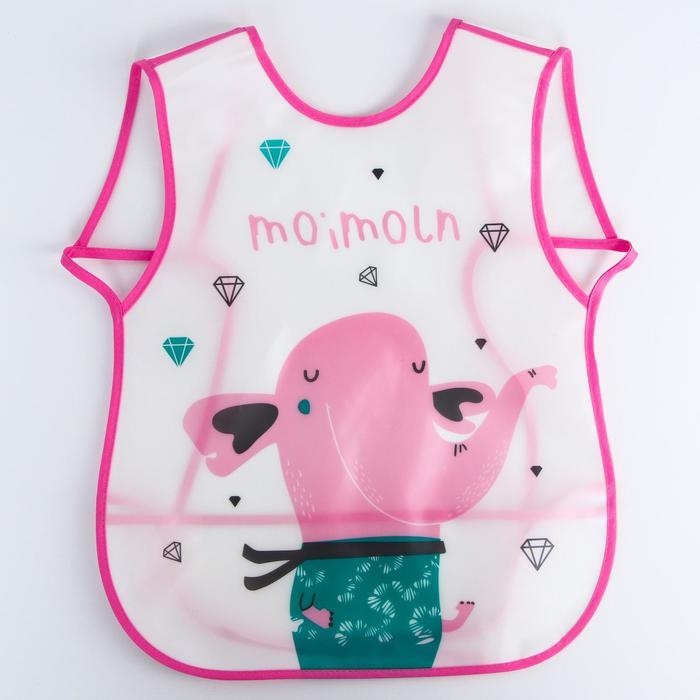 Нагрудник-фартук непромокаемый для девочки, с отворачивающимся карманом, на завязках, цвета МИКС