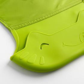 Нагрудник с карманом «Ням-ням», непромокаемый, на липучке, цвет зелёный