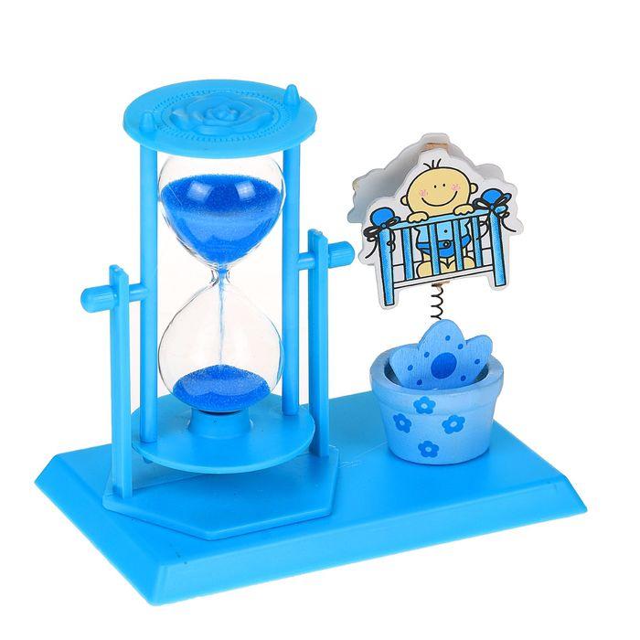 Часы песочные, серия Цветы, голубые, с малышом, с держателем для фото, 14*13*9см