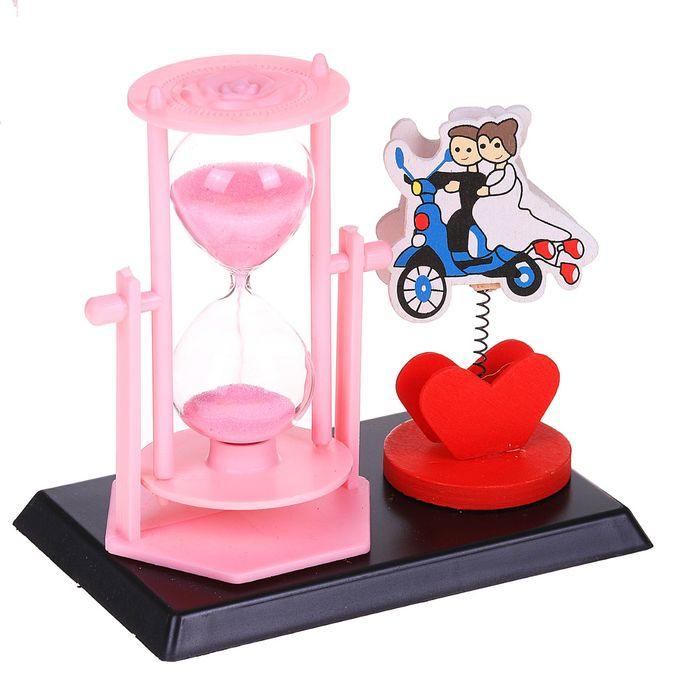 Часы песочные, серия Цветы, розовые, парочка, с держателем для фото, 14*13*9см
