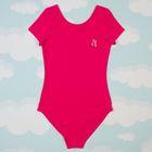 Купальник гимнастический для девочки, с короткими рукавами, рост 158 см, цвет фуксия
