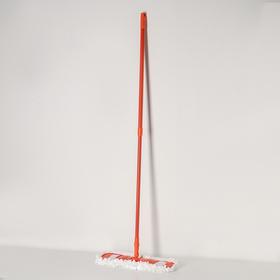 Швабра плоская Доляна, телескопическая ручка 78-130 см, насадка из микрофибры 42×12 см, цвет МИКС