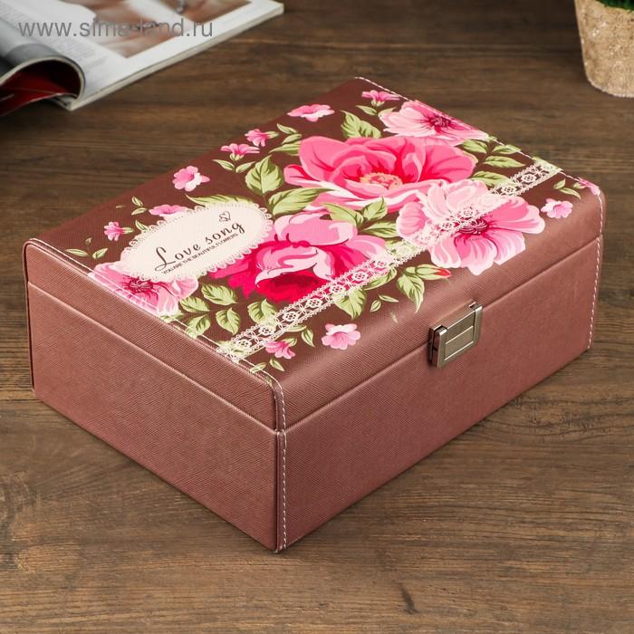 "Шкатулка кожзам для украшений ""Пышные цветы. Любимая песня"" шоколад 10,5х25,5х19 см"