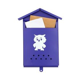 Ящик почтовый без замка (с петлёй), вертикальный, «Домик», синий
