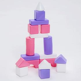 Строительный набор, 18 элементов, 60*60, цвет розовый