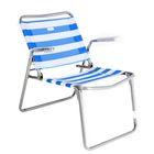 Кресло-шезлонг складное, размер 430х380х330 мм, цвет бело-синий, сетчатая ткань  К1      1135493