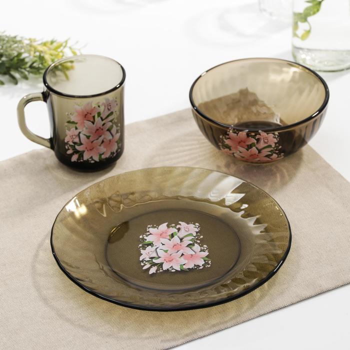 """Набор для завтрака """"Весна"""": тарелка 20,5 см, миска 510 мл, кружка 210 мл, цвет дымка"""