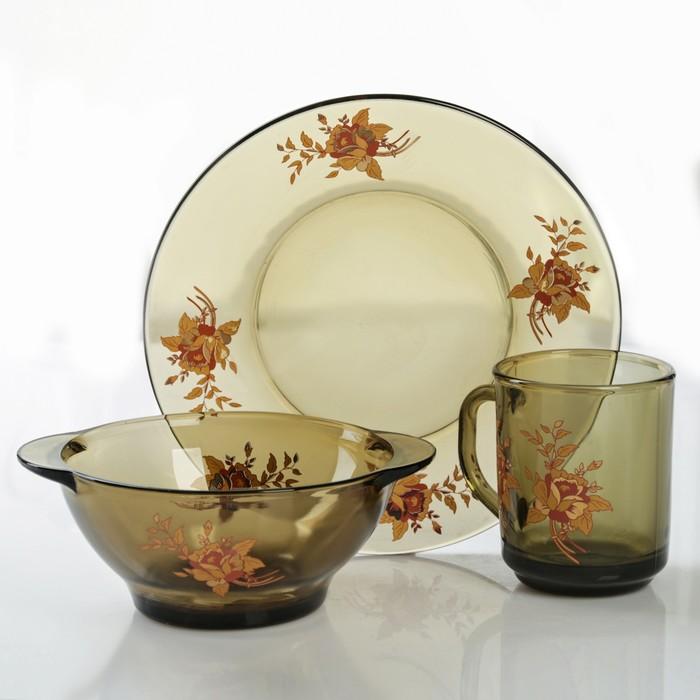 """Набор для завтрака """"Золотая роза"""", 3 предмета: тарелка 20,5 см, миска 510 мл, кружка 210 мл, цвет дымка"""
