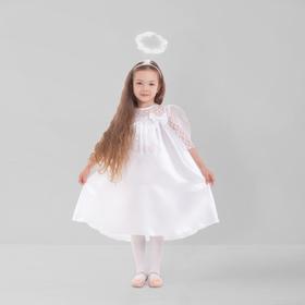 """Карнавальный костюм """"Ангел"""", платье, рукав 3/4 гипюр, нимб, крылья, р-р 30, рост 110-116 см"""