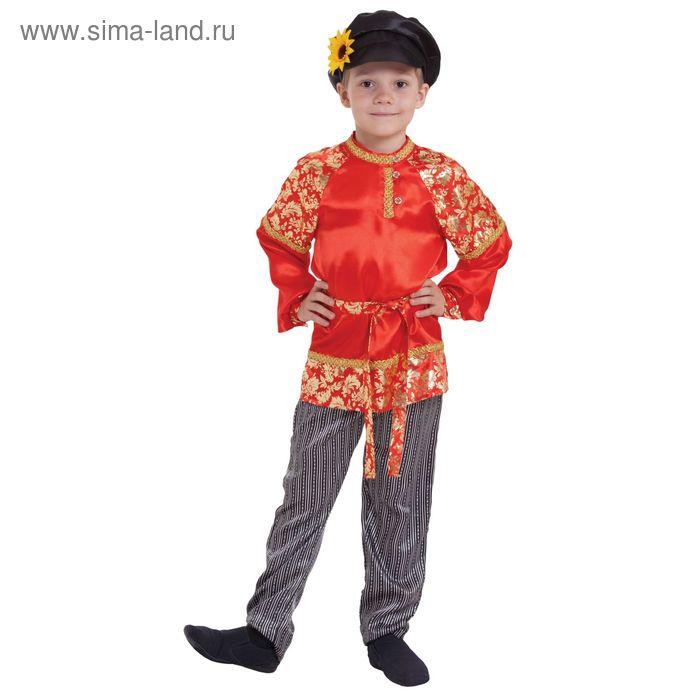 """Русский народный костюм для мальчика """"Хохлома с золотом"""", р-р 56, рост 110 см"""