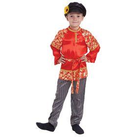"""Русский народный костюм для мальчика """"Хохлома с золотом"""", р-р 72, рост 140 см"""