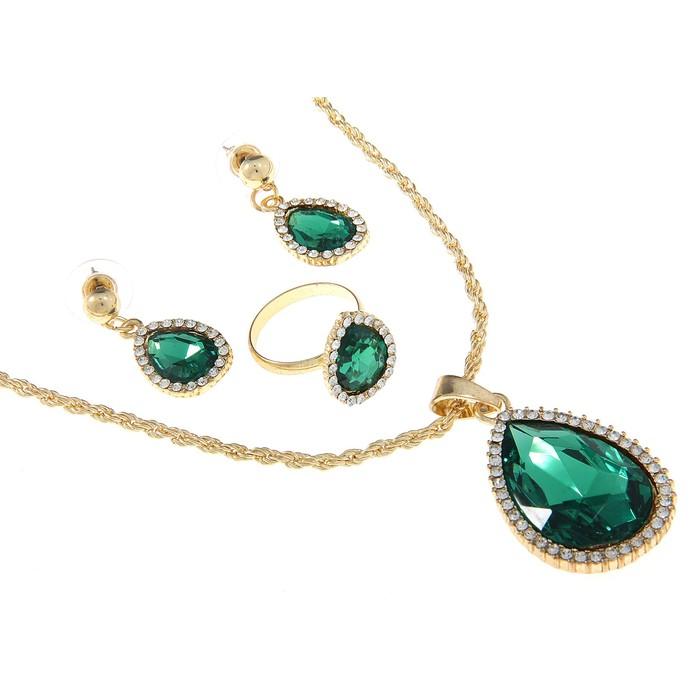 """Гарнитур 3 предмета: серьги, кулон, кольцо безразмерное """"Капля"""" простая роскошь, цвет зеленый в золоте"""