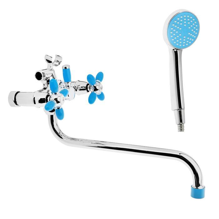 Cмеситель для ванны Accoona A7182M, двухвентильный, синий/хром