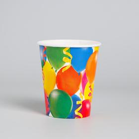 Бумажные стаканы «Праздник», воздушные шары и серпантин, 250 мл, набор 6 шт.