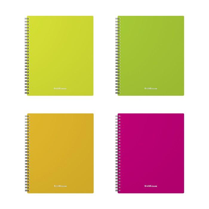 Тетрадь А5+, 60 листов на гребне GLANCE NEON, пластиковая обложка, микс