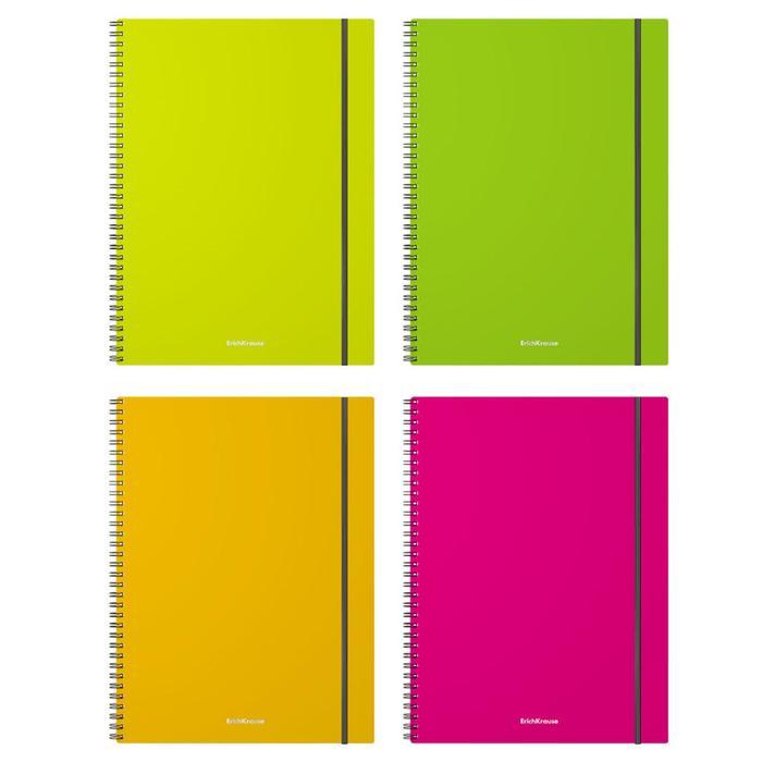 Тетрадь А4, 80 листов на гребне GLANCE NEON, пластиковая обложка, на резинке, микс