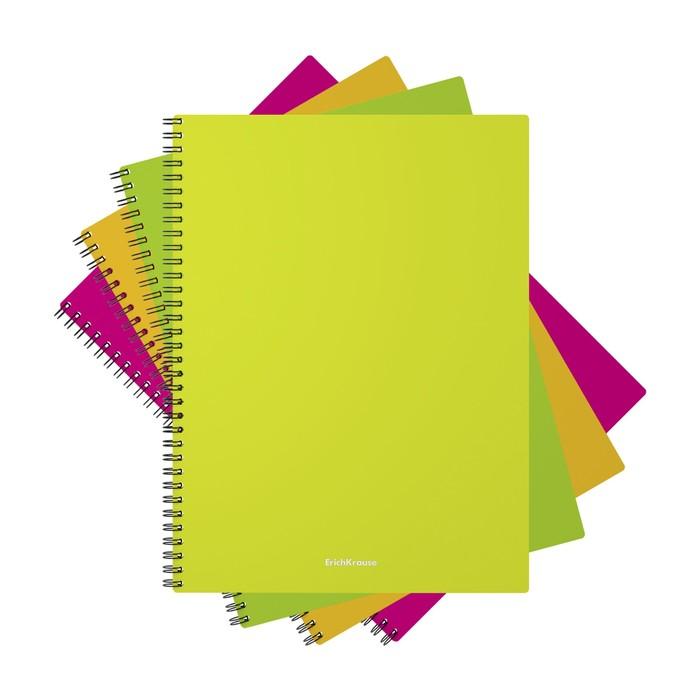 Тетрадь А4, 60 листов на гребне GLANCE NEON, пластиковая обложка, микс