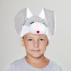 """Карнавальная шапка """"Зайчонок"""" серо-белый обхват головы 52-57см"""