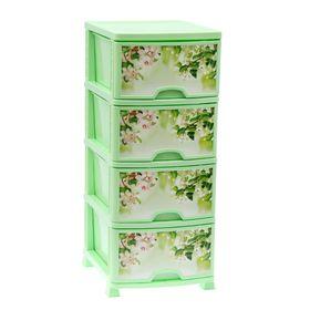 Комод 4-х секционный «Яблоневый цвет», цвет зелёный