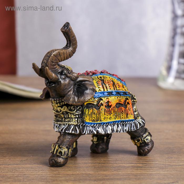 """Сувенир полистоун """"Слон с наскальными рисунками"""" 12х12х4,5 см"""