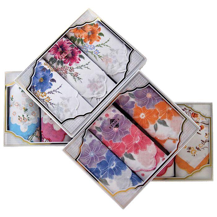 Набор женских носовых платков в коробке (3шт) ЭТНИКА, 30х30, цвет МИКС