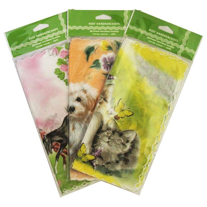 Набор детских носовых платков в коробке ДЖИ, 25х25, 3 шт, цвет МИКС - фото 105552088