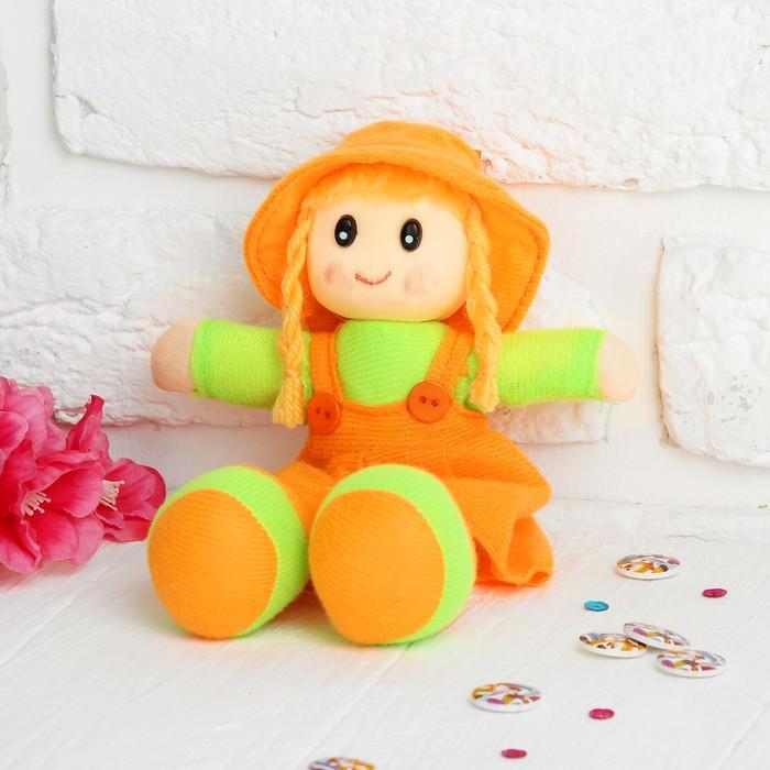 Мягкая игрушка кукла с хвостиками, в сарафане и полосатой кофте, цвета МИКС