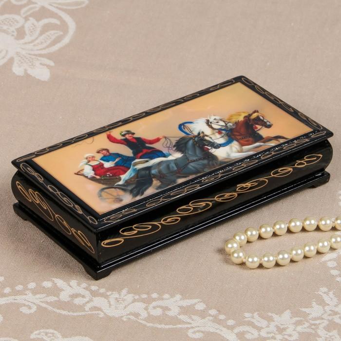 Шкатулка - купюрница «Тройки», 8,5×17см, лаковая миниатюра - фото 728115900