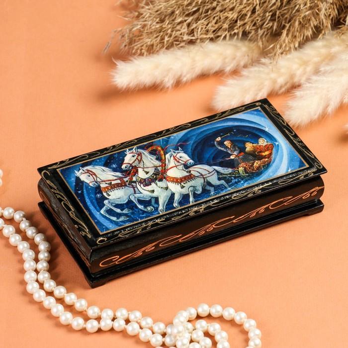 Шкатулка - купюрница «Тройка», 8,5×17 см, лаковая миниатюра