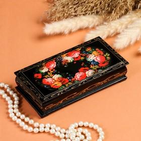 Шкатулка - купюрница «Жостовская роспись», 8,5×17 см, лаковая миниатюра