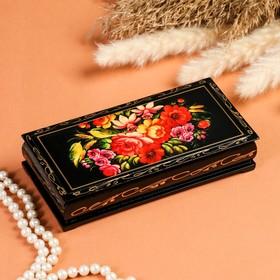Шкатулка - купюрница «Полевые цветы», 8,5×17см, лаковая миниатюра