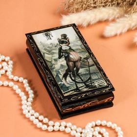 Шкатулка - купюрница «Кот», 8,5×17 см, лаковая миниатюра